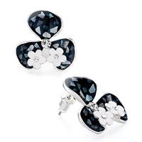 Earrings - black clover white flower clear detailed swarovski crystal stud earrings Image.