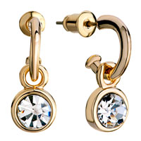 Earrings - golden three quarter ring dangle round april birthstone clear swarovski crystal earrings Image.