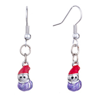 Earrings - christmas jewelry purple xmas snowmanwih red hat re holiday fish hook earrings Image.