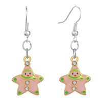 Earrings - christmas jewelry pink xmas snowman star dangle fish hook earrings Image.