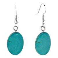 Earrings - earrings silver tone oval turquoise bead drop earrings Image.