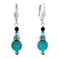 Earrings - earrings silver tone swarovski elements turquoise crystal earrings Image.