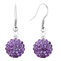 Earrings - shamballa ball bead fish hook dangle earrings purple swarovski elements earrings Image.
