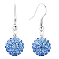 Earrings - shamballa ball bead fish hook dangle earrings blue swarovski elements earrings Image.