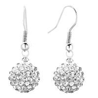 Earrings - shamballa ball bead fish hook earrings clear white swarovski elements earrings Image.