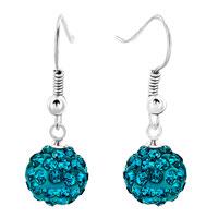 Earrings - emerald green swarovski elements crystal disco shamballa ball bead fish hook women dangle earrings Image.