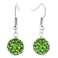 Earrings - shamballa ball bead fish hook dangle earrings peridot swarovski elements earrings Image.