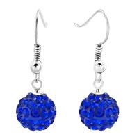 Earrings - shamballa ball bead fish hook dangle earrings sapphire swarovski elements earrings Image.