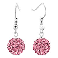 Earrings - shamballa ball bead fish hook dangle earrings pink swarovski elements earrings Image.