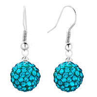 Earrings - shamballa ball bead fish hook dangle earrings blue topaz swarovski elements earrings Image.