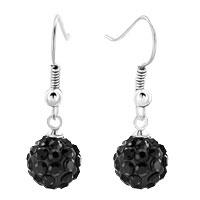 Earrings - shamballa ball bead fish hook dangle earrings black swarovski elements earrings Image.