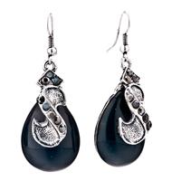 Earrings - black raindrop dangle teardrop fish hook earrings for women Image.