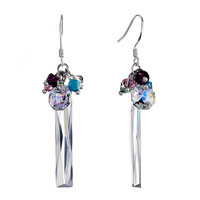 Earrings - classic colorful crystal dangle clear swarovski icicle april birthstone sale fish hook earrings Image.
