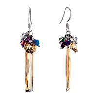 Earrings - classic colorful crystal dangle topaz swarovski icicle november birthstone sale fish hook earrings Image.