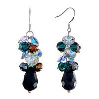 Earrings - colorful cluster swarovski crystal dangle black swarovski drop fish hook earrings Image.
