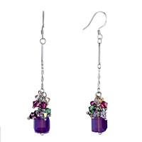 Earrings - colorful crystal cluster dangle amethyst swarovski drop february birthstone love fish hook earrings Image.