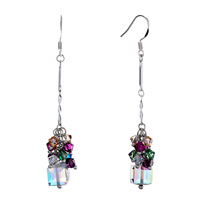 Earrings - colorful crystal cluster dangle clear swarovski drop april birthstone love fish hook earrings Image.