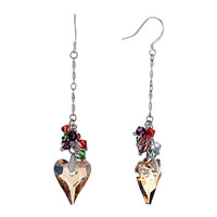 Earrings - colorful crystal cluster dangle topaz swarovski heart november birthstone love fish hook earrings Image.