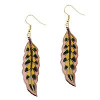 Earrings - pink willow leaf fish hook earrings drop Image.