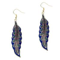 Earrings - dark blue willow leaf fish hook earrings Image.