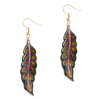 Earrings - tiger eye willow leaf fish hook earrings Image.