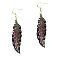 Earrings - black and red willow leaf fish hook earrings Image.