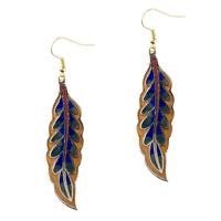 Earrings - orange and blue willow leaf fish hook earrings Image.