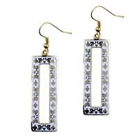 Earrings - filigree vintage antique golden and white rectangular dangle fish hook earrings Image.