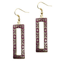 Earrings - filigree vintage antique golden and red rectangular dangle fish hook earrings Image.