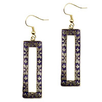 Earrings - filigree vintage antique golden and brown rectangular dangle fish hook earrings Image.