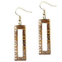 Earrings - filigree vintage antique golden and orange rectangular dangle fish hook earrings Image.