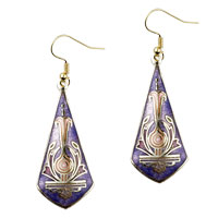 Earrings - purple sword shaped fish hook earrings drop Image.
