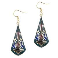 Earrings - dark green sword shaped fish hook earrings Image.