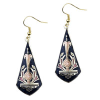 Earrings - black sword shaped fish hook earrings drop Image.