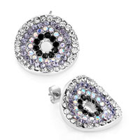 Earrings - fashion round pave multicolor crystal stud earrings for women gift Image.