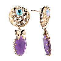 Earrings - filigree vintage antique hanging purple drop bowknot dangle earrings Image.