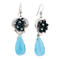Earrings - black flower hanging blue drop floral dangle fish hook earrings Image.