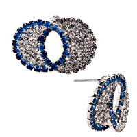 Earrings - circle pave blue &  white crystals stud silver plated earrings Image.