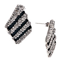 Earrings - black alternate white diamond crystalstud earrings Image.