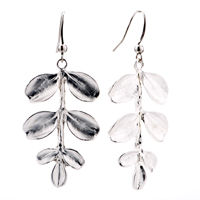 Earrings - reversed leaves silver 925  sterling dangle fish hook earrings Image.