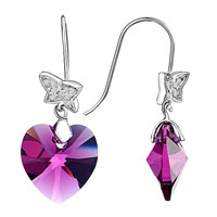 Earrings - butterfly rose heart crystal dangle silver plated hook glam earrings Image.