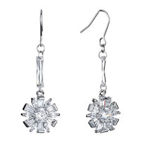 Earrings - clear swarovski crystal bar dangle flower petal fish hook earrings gifts for women Image.