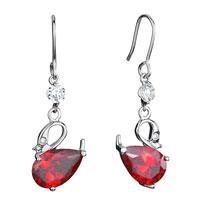 Earrings - swan clear swarovski crystal july birthstone light siam drop dangle fish hook earrings gifts for women Image.