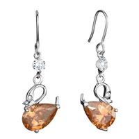 Earrings - swan clear swarovski crystal november birthstone topaz drop dangle fish hook earrings gifts for women Image.