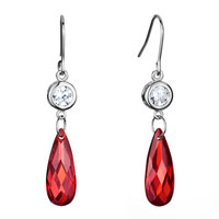 Earrings - clear swarovski swarovski crystal dangle indian red drop fish hook earrings gifts for women Image.