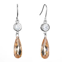 Earrings - clear peach swarovski crystal dangle november birthstone topaz drop fish hook earrings gifts for women Image.