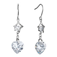 Earrings - abstract square clear swarovski crystal dangle heart fish hook earrings gifts for women Image.