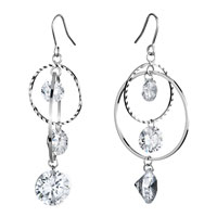 Earrings - different sized circle dangle clear swarovski swarovski crystal earrings gifts for women Image.