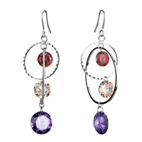 Earrings - different sized circle dangle hyacinth light peach& tanzanite swarovski crystal earrings gifts for women Image.
