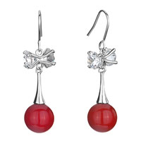 Earrings - bowtie clear swarovski crystal dangle red murano glass ball fish hook earrings gifts for women Image.